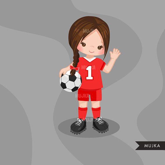 Soccer Clipart Sport Graphics Girls Soccer Player Sports Graphics Player Character Clip Art