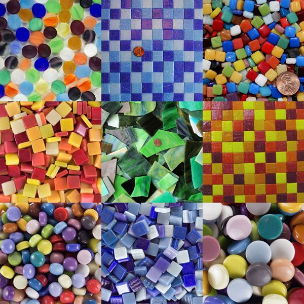 glass mosaic tile assortments in bright colors at MosaicArtSupply.com