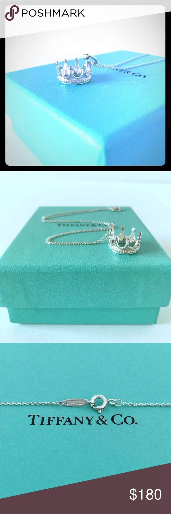 "Tiffany and Co. Crown Necklace Royally appointed. Charm in sterling silver. On a 16"" Tiffany and Co. Original Sterling silver chain. 100% Authentic new in box with dust bag, pouch and gift bag. Please buy with confidence, high rated seller. Tiffany & Co. Jewelry Necklaces"