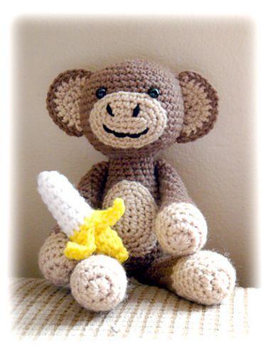 crochet monkey with banana pattern:  Teddy Bears, Crochet Monkey, Toys Boxes, Bananas, Crochet Amigurumi, Amigurumi Monkey, Free Patterns, Crochet Patterns, Knits