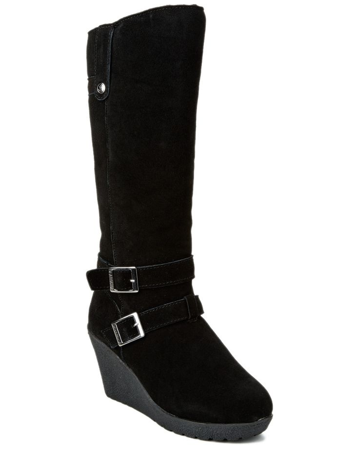 BEARPAW Lombard Suede Wedge Boot in Black