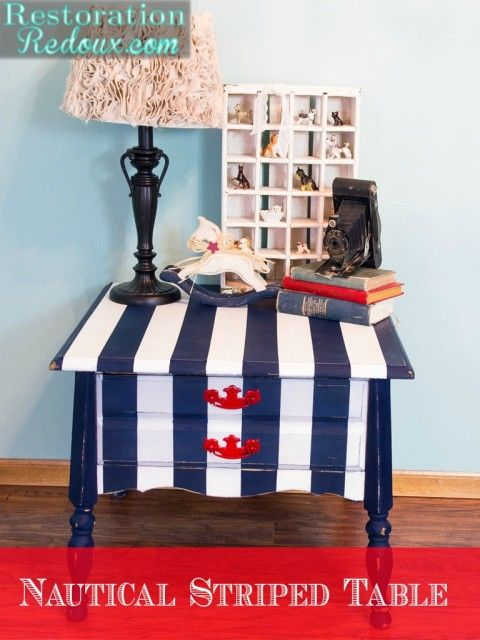 Nautical  Striped Nightstand - Restoration Redoux http://www.restorationredoux.com/?p=8838
