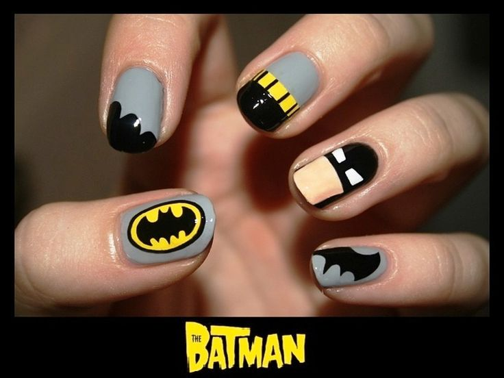 I want these!!!!:D Who Wants To Get These Superhero Nail Arts? - http://www.stylishboard.com/wants-get-superhero-nail-arts/