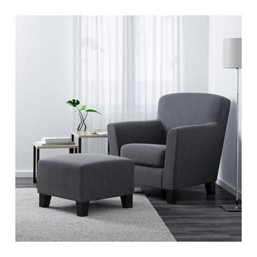 """EKENÄS Chair - Hensta gray - IKEA...$299 each chair. about 34"""" wide. $99 for ottoman. not available in white."""
