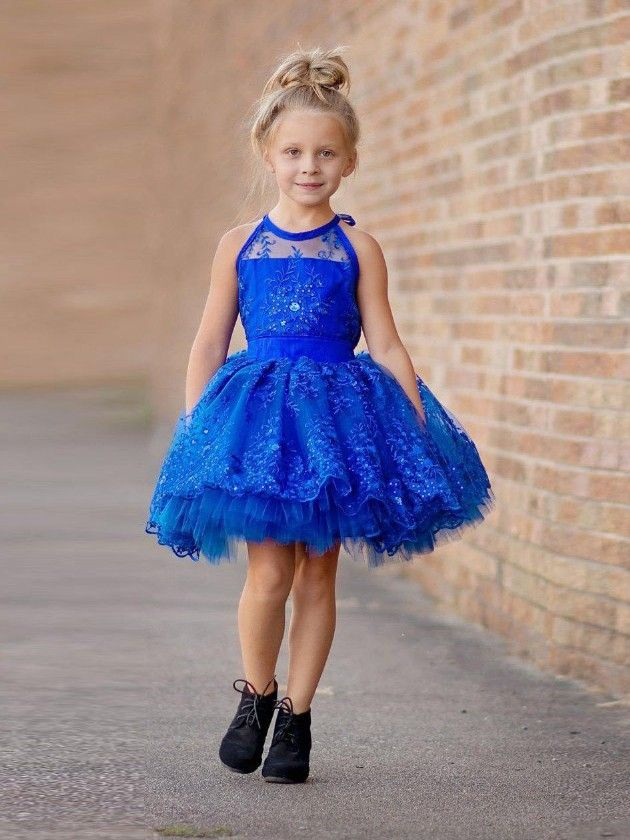 Sweet Ball Gown Scoop Neck Tulle Short/Mini Appliques Lace Flower Girl Dresses