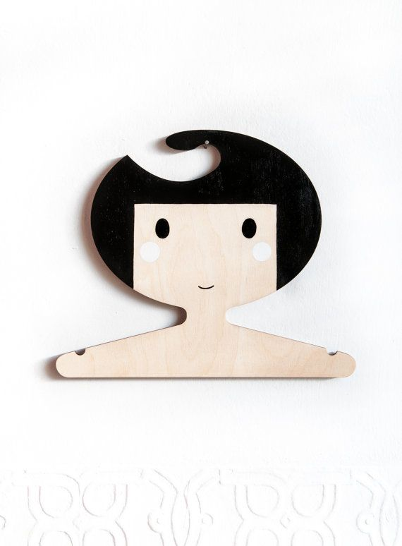 *Please allow 7 days for dispatch during the run up to Christmas*      Laser cut ply kids clothes hanger - Black haired girl    These gorgeous
