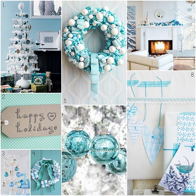 I like this Blue Christmas Decor but with gold and silver...my new favorite!: