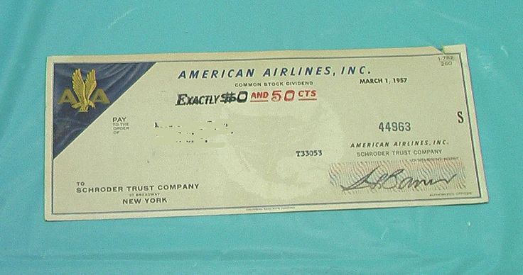 American Airlines Airplane Check Common Stock Market Dividend Vintage 1957 Paper