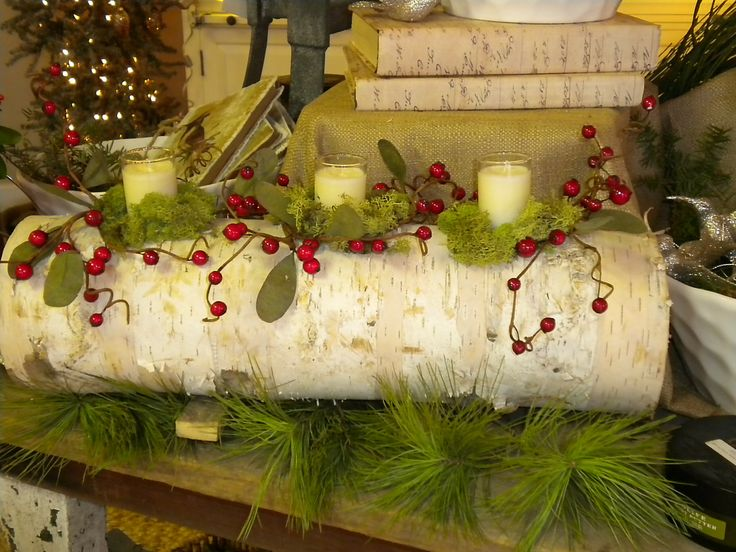 Birch Log candle holder. I had some birch logs left over ...