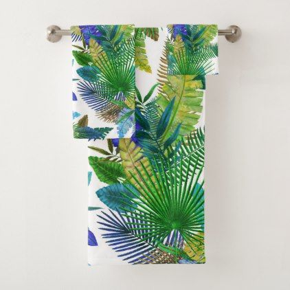 Tropical Ferns Palm and Banana Leaves Bath Towel Set -nature diy customize sprecial design