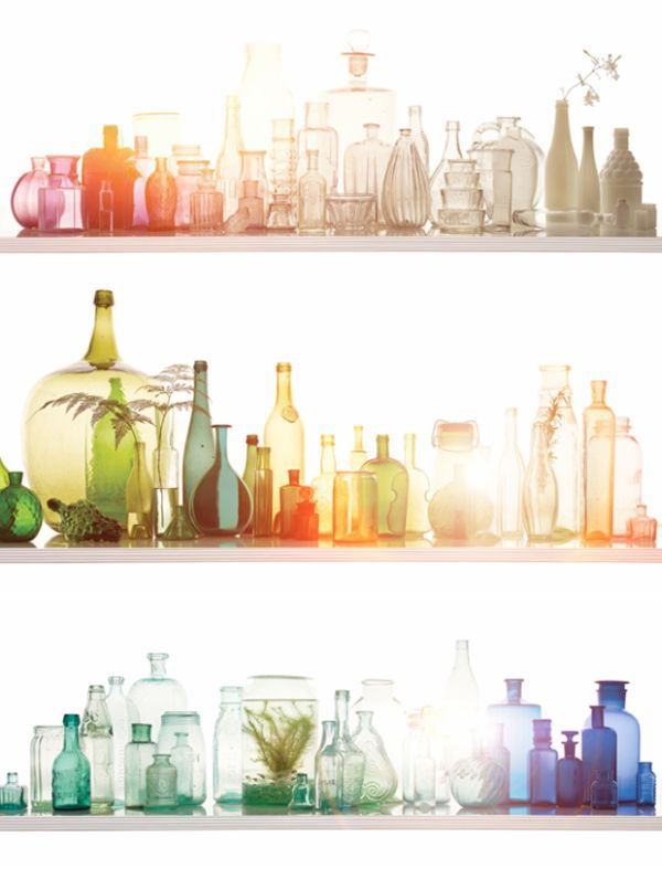 : Decor, Idea, Rainbows, Glass Bottles, Collection, Old Bottle, Glasses Bottle, Colors Glasses, Colored Glass