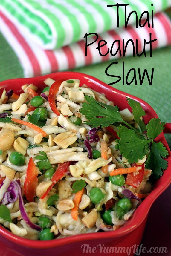 Thai Peanut Slaw - only 95 calories - a healthy side, main dish, or wrap filling.