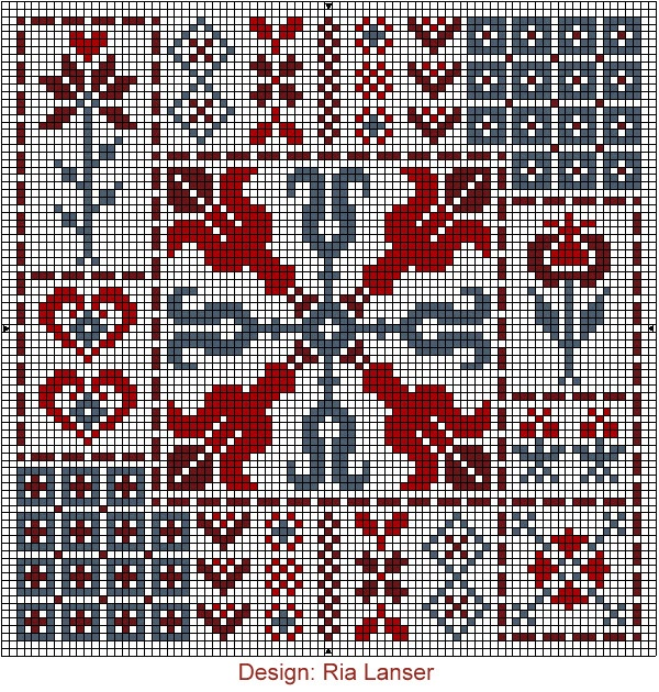 Design: Ria Lanser, Quaker style cross stitch