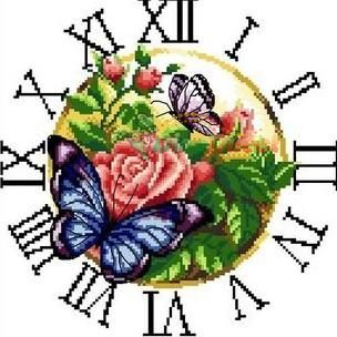 Popular Flower Butterfly Clock Cross Stitch Kit