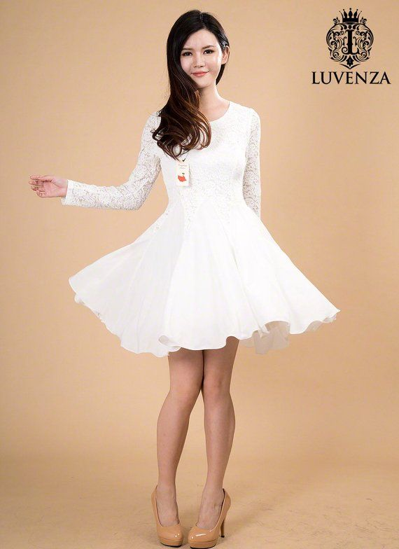 29e120a16e White Lace Chiffon Dress   Little White Dress   White Fit and Flare Dress Long  Sleeve Lace Dress Nav