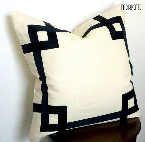 Greek Key Fretwork Ivory Linen with Black 20 Pillow by thfabricate, $75.00