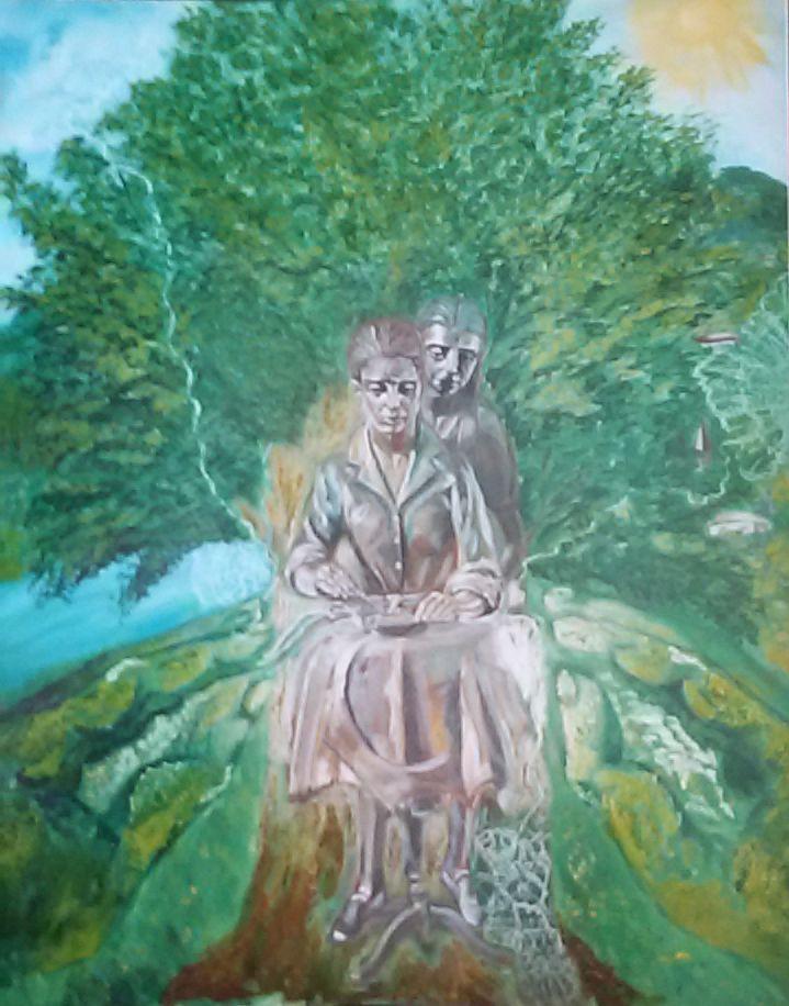 """""""INTRECCI INVISIBILI""""  Una donna, una madre. Una donna, una figlia. Un Dio, un testimone. In modo gentile e silente, tutto il mondo è legato da intrecci invisibili. Filamenti impercettibili all'occhio umano, di puro amore, che ci legano, ci circondano, ci aiutano. Nei piccoli gesti quotidiani, scopriamo l'immenso. L'amore è uno Spirito Santo, che come un rombo, come di tuono, su di noi, si abbatte gagliardo.  TECNICA acrilico su tela + olio su tela DIMENSIONI 80x100 PREZZO €9,000"""