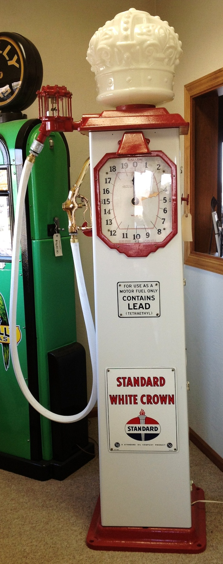 1930's Standard White Crown Gas Pump- check it out at vintagegallery.com