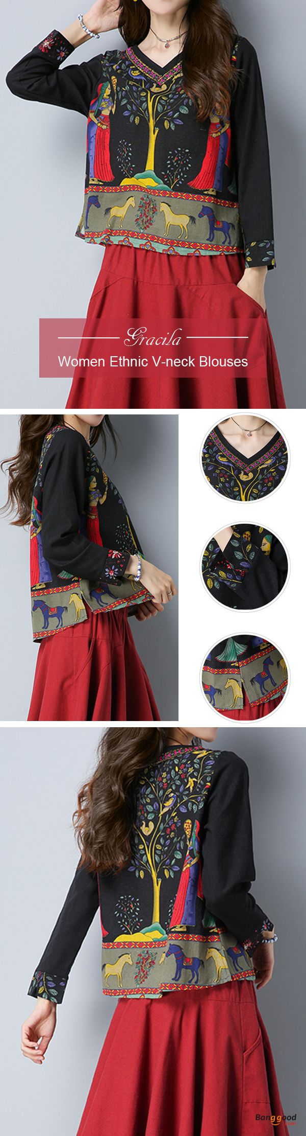 US$24.99 + Free shipping. Size: M~5XL. Fall in love with casual and vintage style! Gracila Women Ethnic Print V-neck Long Sleeve Blouses. #blouses #tops #women #wedding
