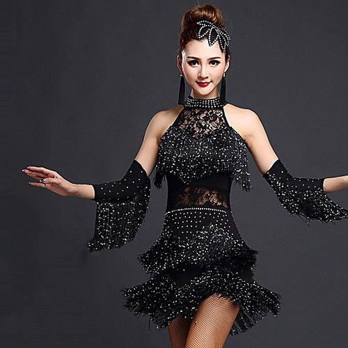 08aff6710 Baile Latino Vestidos Mujer Entrenamiento Rayón / Licra Cuentas ...