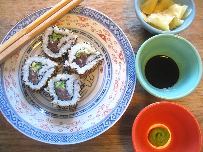 Homemade uramaki sushi