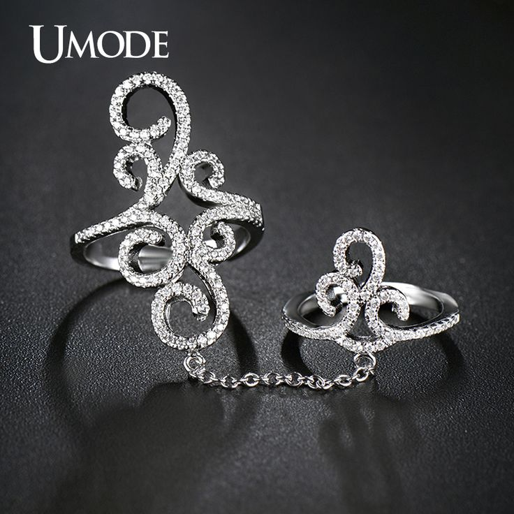 UMODE Trendy Bohemia Knuckle Jewelry Double Chain Ring Micro CZ White Gold Color Full Finger Ring For Women Jewelry Gift AUR0265