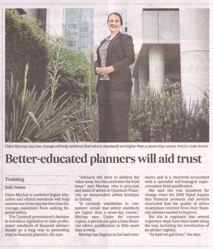 Quantum Financial's Claire Mackay was featured in today's Australian Financial Review on how the Government changes announced yesterday will enable consumers to better trust advisors.