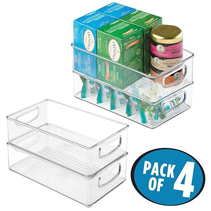 Mdesign Kitchen Cabinet And Pantry Storage Organizer Bins Pack Of 4 Shallow Clear Freezer Food Storage Pantry Storage Kitchen Pantry Cabinets