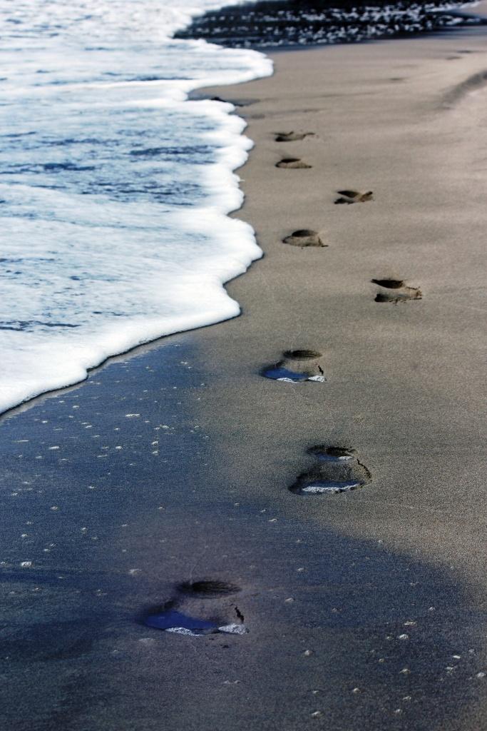 Footprints on Beach - Hahei, New Zealand Beach, Summer, Ben Amies © 2012