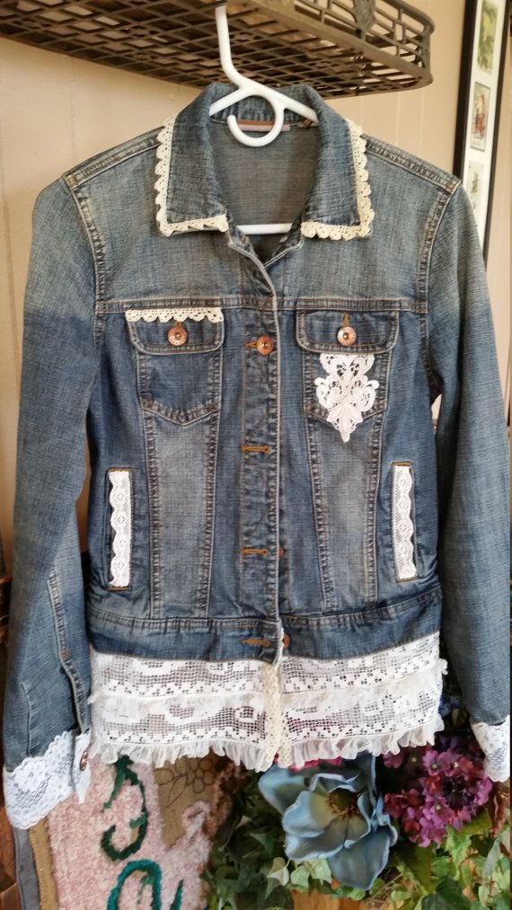 Refashioned Blue Denim Jean Jacket Original Arizona Jacket Hand Stitched with a variety of Off White and White Vintage Lace Trim Size Medium