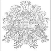 Desenho de Casa florida para adultos para colorir