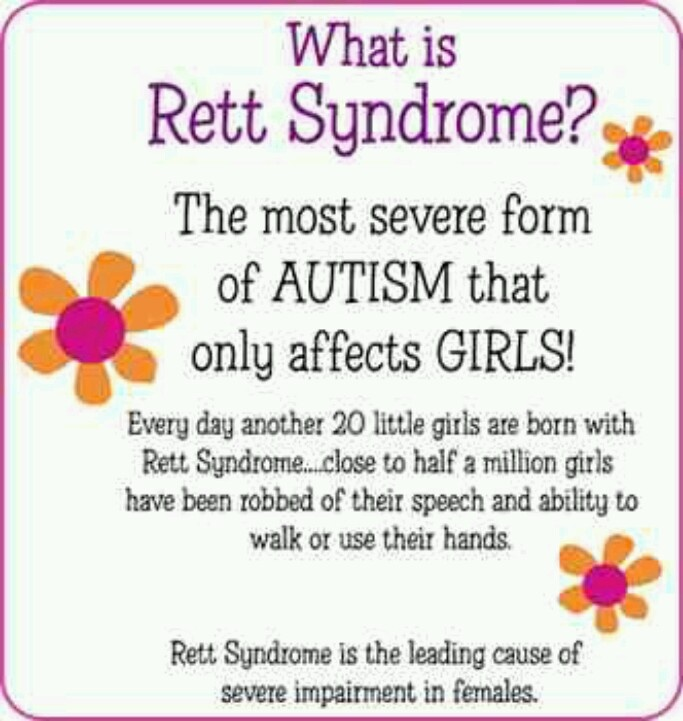 Rett syndrome - my sister, 38 yrs old, has Rett. We are only just now really learning more about it!