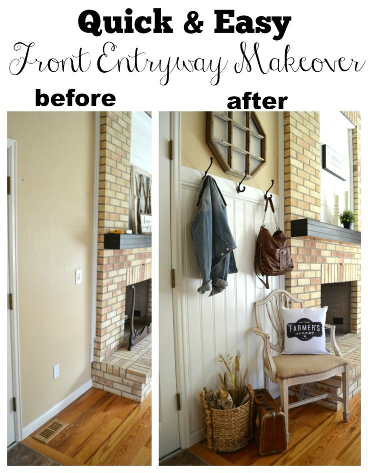 Quick and Easy Farmhouse Style Front Entryway Makeover. See how this empty wall space was transformed into a functional entryway.