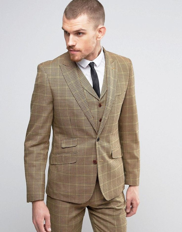 Gianni Feraud Brown Checked Slim Fit Suit Jacket - Brown