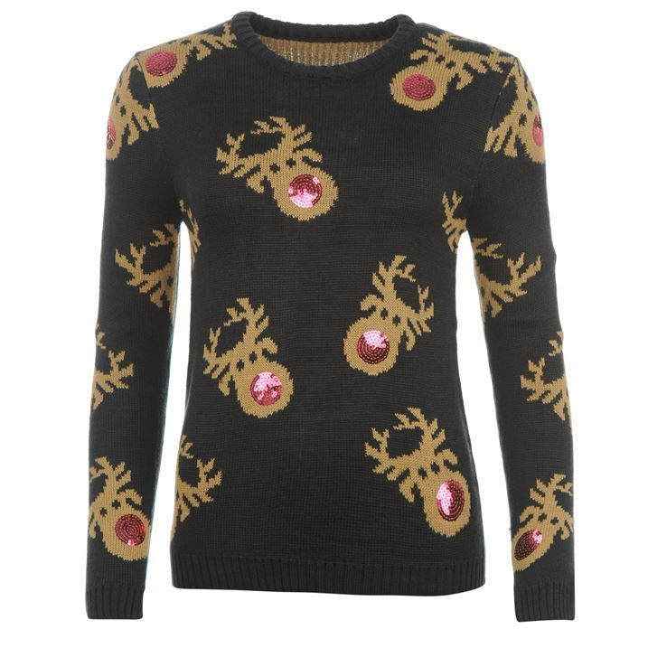 LADIES CHRISTMAS JUMPER - SEQUIN REINDEER 8,10,12,14,16,18 *NEW* in Clothes, Shoes & Accessories, Women's Clothing, Jumpers & Cardigans | eBay