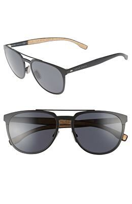aa8f7ce46 BOSS Designer 57mm Navigator Sunglasses Boss Man, Matte Black, Blue Grey, Sunglasses  Accessories