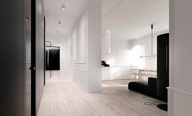 white chairs and walls with simple black lines