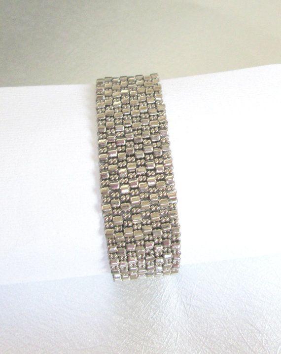 silver bead bracelet beaded jewelry seed bead cuff by beadnurse