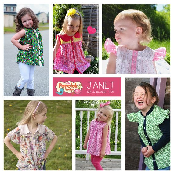 The JANET TOP pattern is a versatile girls blouse top pattern that offer various sleeves and collars option. The bodice has upper yokes and gathered flowy lower part, with contrast placket for the front button closure. Make it girlie with sweet delicate fabric such as silk, chiffon & lace; or very fun one with funky cute print. This top is a timeless basic piece, fully customizable and has limitless style possibilities.  * Collar options: Collarless, Peter Pan, Mandarin, Convertible &...