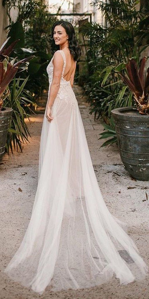 Charming A Line Tulle Sleeveless Lace Backless Wedding Dresses