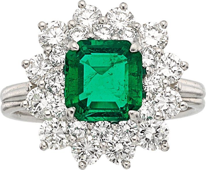Colombian Emerald, Diamond and Platinum Ring, by Tiffany & Co.