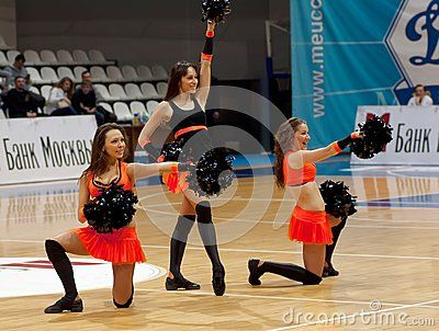 MOSCOW - APRIL 1: Cheerleaders groupe VIP dance on a game Dynamo MSK vs Dynamo NSK of women RBA National tournament on April 1, in Moscow, Russia Cheerleaders groupe dance. Группа поддержки Ви-Ай-Пи команды Динамо