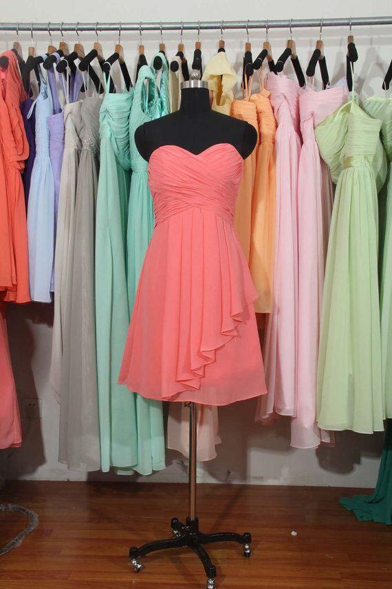 Coral Bridesmaid Dress, A-line Sweetheart Short Chiffon Bridesmaid Dress, knee-length dress beach bridesmaid dresses maid on Etsy, $85.00