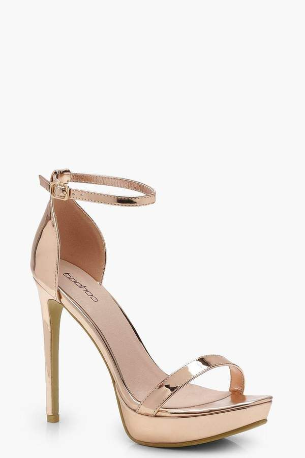 ALDO Paules Leather Gold Barely There Heeled Sandals | Shoes