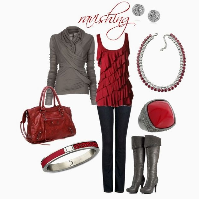 Ravishing Red.Red Tops, Fashion, Style, Clothing, Day Outfit, Colors, Grey, Dreams Closets, Ravishing Red