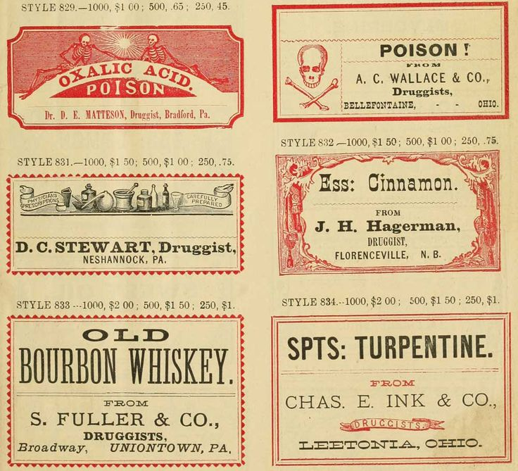 This catalog page of apothecary labels from the late 19th century shows that whiskey was sold as medicine even before Prohibition.