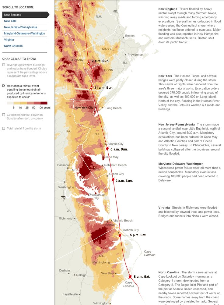 Flooding, Power Failures, Rainfall and Damage From Hurricane Irene  by The New York Times