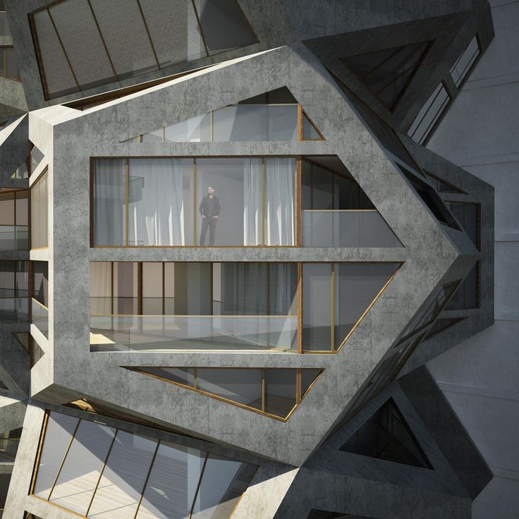 The Platonian Tower by Tammo Prinz Architects in Lima, Peru. A residential skyscraper built from a stack of modular cubes and dodecahedrons.
