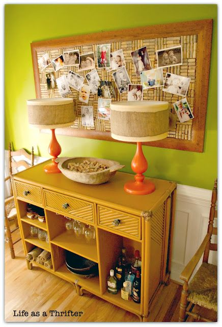 Wow! That's the biggest 'wine cork' cork board I've ever seen! love those lamps too! via life as a thrifter
