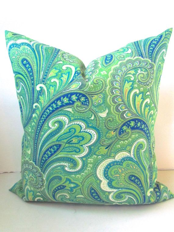 Green PILLOW Cover Turquoise Pillows Teal green Indoor Outdoor Pillows 18x18 16 Aqua Blue .All Sizes. Gold Paisley Outdoor Pillow .Sale.